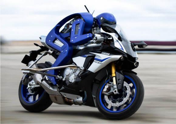 human robot (Motobot) drives motobike