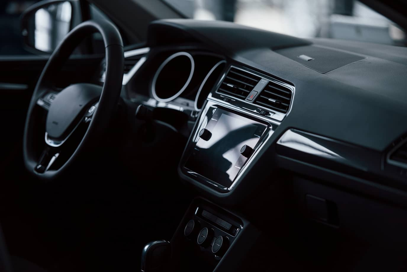 inside a brand new car with total black color