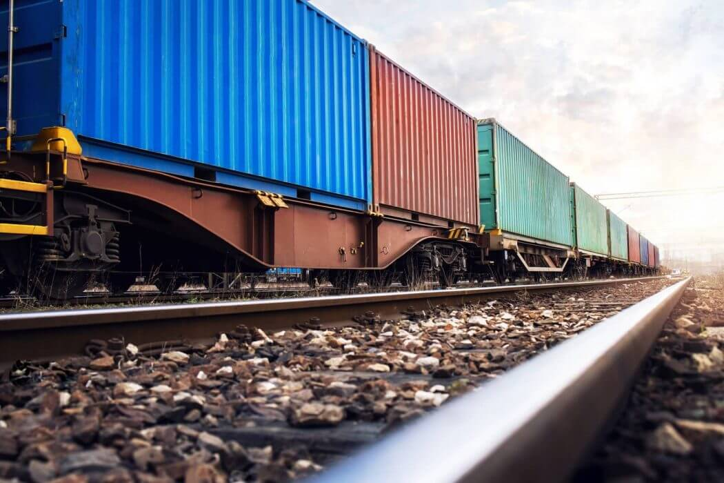 Rail transportation carrying cargoes for distribution nationwide