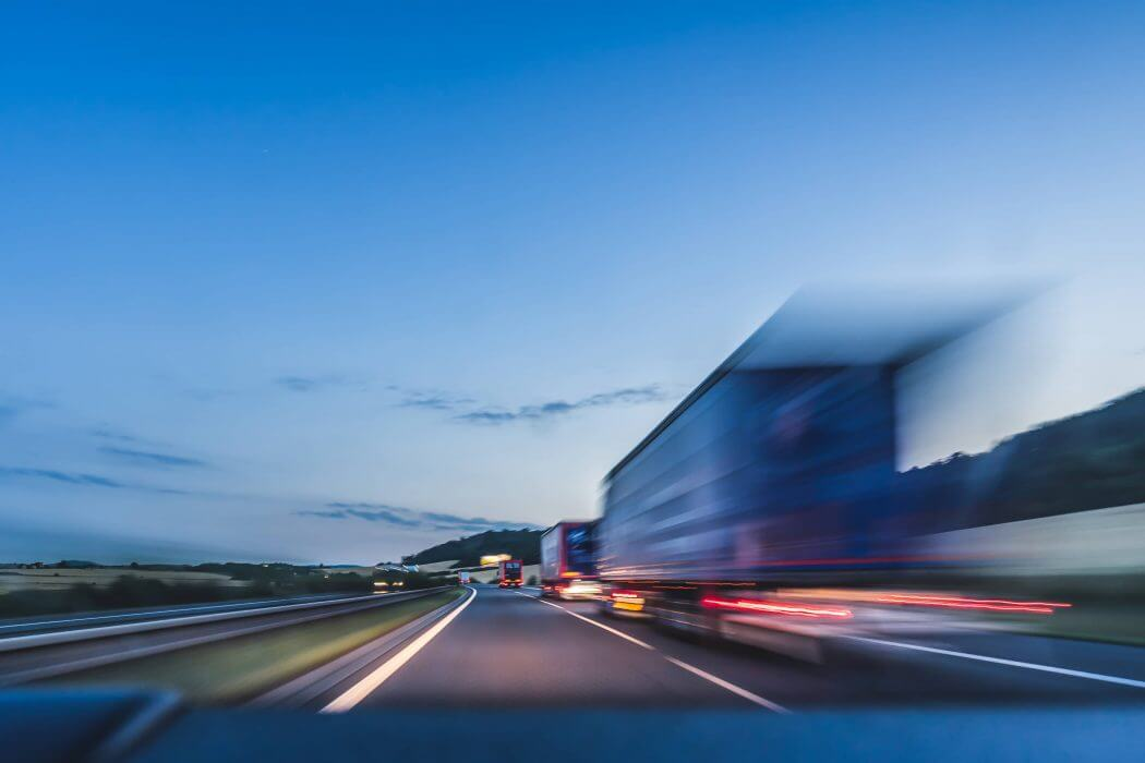 truck transportation with speed on the road