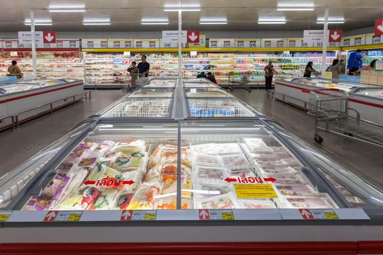 fresh food in freezer at supermarket