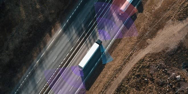 a truck running on the road safely with telematics solution technology