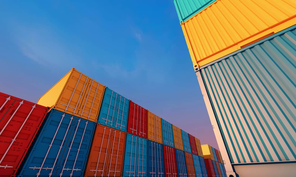 containers stacking in container yard