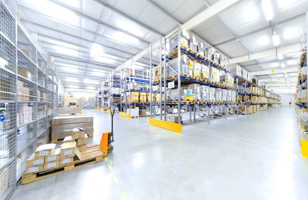 selective racks in warehouse to store products and save space